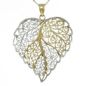 Jewelry - 10K White Gold Floral Filigree Heart  Necklace